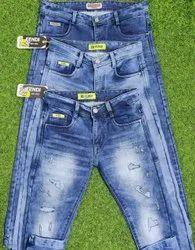 Multicolor Casual Wear Blue Denim Jeans, Size: 28-36
