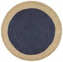 Blue Jute Braided Bordered Round Rug