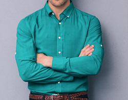 Anand Creation Collar Neck Mens Marine Blue Linen Plain Shirt, Machine wash