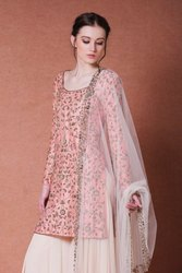 Present Silk Embrodeiry Work Best Designing Suit With Palazo And Duptta