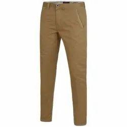 Beige Plain Mens Cotton Casual Pants
