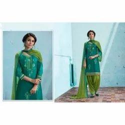 Casual Wear Stitched Ladies Chanderi Patiala Suit, Machine wash