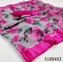 Printed Green Linen Satin Patta Saree, 6.3 m (with blouse piece)