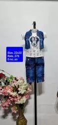 SN Blue Kids Jeans Capri