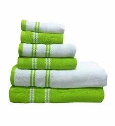 White & Green Bath Towel