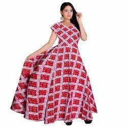 Pink Jaipuri Printed Cotton Party Wear Dress, Size: Free Size