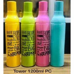 Plastic Blue Tower Water Bottle, 1200 ml