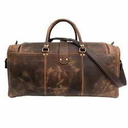 Brown Leather Travel Duffel Bag