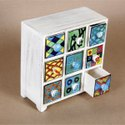 Wooden 9 Drawer Decoration Jewellery Box, Size/dimension: 8x4x8 Inch