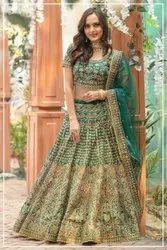 Jacquard Party Wear Fully Embroidery Designer Lehenga
