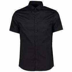 Regular Fit Collar Neck Men Plain Black Half Sleeves Cotton Satin Shirt, Machine wash