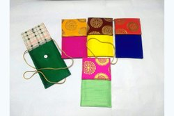 Fabric Multi Colour Raw Silk Mobile Pouch