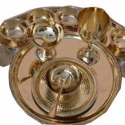 Golden Brass Vintage Design Thali Set, For Restaurant And Hotels, 10