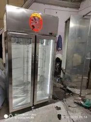 Stainless Steel Compact Commercial Glass Door Refrigerator, Electricity