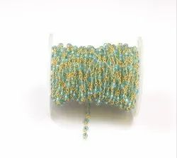 Light Blue Topaz Brass Handmade  Rosary Chain With Gold Plated