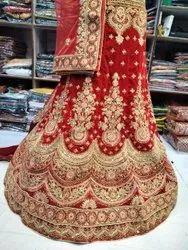 Embroidered Semi-Stitched Ladies Wedding Wear Lehenga