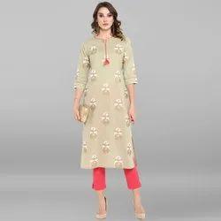 Janasya Women''s Light Green Cotton Kurta With Pant(SET146)