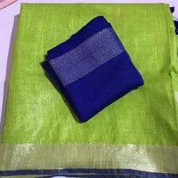 Women's Pure Cotton Slub Parrot Green Organic Saree With Plain Zari Border Blue Blouse Piece