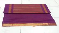 5.5 Meter Plain Mangalagiri Festive Wear Handloom Sarees, With blouse piece