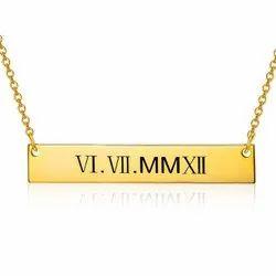 60 Cm Silver Rose Gold Bar Necklace