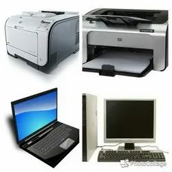 Laptop Desktop Computer and Printer