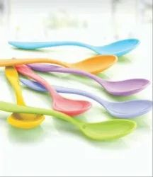 Blue,Orange And Pink Multicolour Baby Plastic Spoon, For Home
