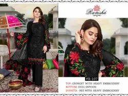 Ank Enterprise Unstitch Georgette Pakistani Suits, Dry Clean