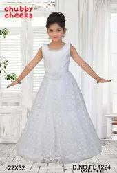 Kids White Party Wear Gown