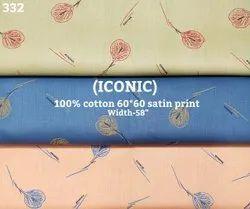 Iconic 100% cotton satin print shirting fabric