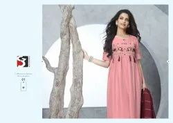 S3 Forever Party Wear Richie-Rich Chinon Kurti With Fancy Dupatta Catalog Set