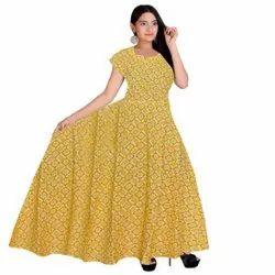 Yellow Casual Wear Printed Jaipuri Cotton Dress, Size: Free Size
