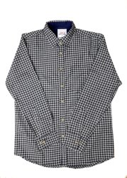 JPND Collar Neck Black Check Shirt, Handwash
