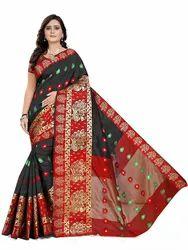 Party Wear Black banarasi silk saree, 6.3 m (with blouse piece)
