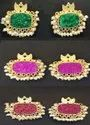Silver Studs Designer Green/red/pink Stone Earrings With Golden Work And Pearl