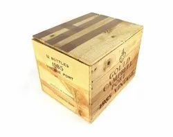 Brown Square Wooden Storage Boxes