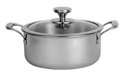 24cm Nirlon Stainless Steel Platinum Triply Casserole With Glass Lid