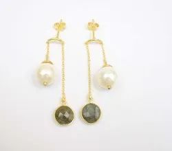 Fashionable Handmade New Design Hoop Earring with Pearl and Labradorite Gemstone