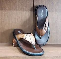 Daily Wear Brown Men Leather Slipper, Size: 6,7 And 8