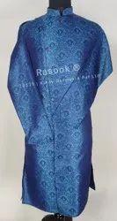 Blue Jacquard FrontOpen Kurta Pajama