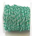 Green Quartz Faceted Beads Brass Handmade Rosary Chain With Silver Plated