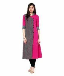 Cotton Formal Wear Designer Collar Neck Ladies Kurti, Wash Care: Handwash