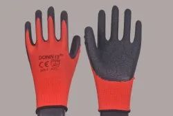 CE Red Black Latex Coated Gloves, Size: Large