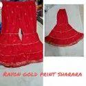 """Narayan 58-60"""" Ladies Rayon Gold Print Sharara, Size: Large"""
