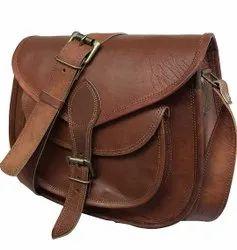 Brown Offiice Purpose Men Leather Side Bag