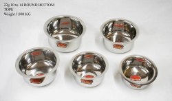 Silver Stainless Steel 1.8 Kg Round Bottom Tope, For Home, Size: 10-14 Inches