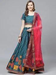 Turquoise Semi Stitched Designer Silk Blend Party Wear Lehenga Choli