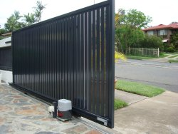 Black Mild Steel Automatic Sliding Gate
