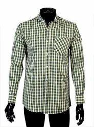 JPND Collar Neck Green Check Shirt, Handwash