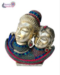 Nirmala Handicrafts Brass Handicrafts Lord Shiv Parvati Statue Religious Indian God Idol Figurine