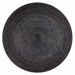 Black Jute Braided Round Rug